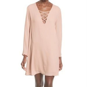 ASTR The Label Pale Pink Long Sleeve V Neck Dress